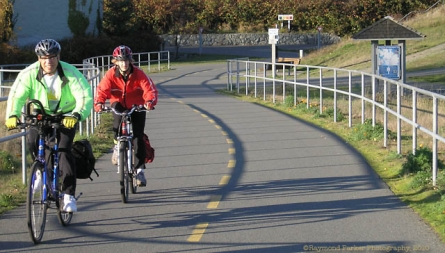 Commuters cross the Switch Bridge, Galloping Goose Trail